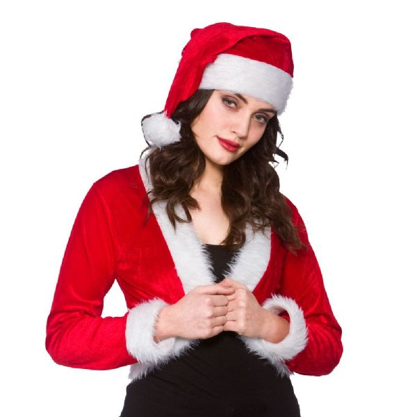 Adults Ladies Cute Santa Shrug & Hat for Father Christmas Fancy Dress